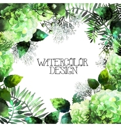 Green watercolor hydrangea design vector image vector image
