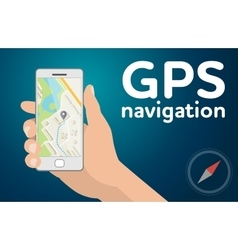 Hand with mobile smartphone gps navigation map vector