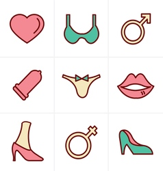 Icons Style Sex And XXX Icons Set Design vector image