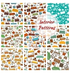 Interior patterns set of furniture icons vector image vector image