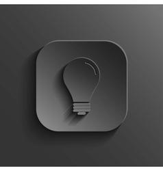 Light bulb icon - black app button vector image vector image