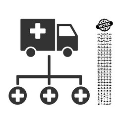 Medical delivery structure icon with job bonus vector