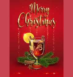 mulled wine postcard xmas drink vector image