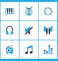 Music colored icons set collection of tambourine vector