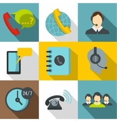 Online support icons set flat style vector