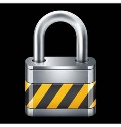 Padlock icon isolated on black vector
