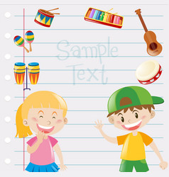 Paper design with kids and musical instruments vector