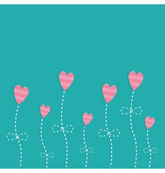 Pink strip heart flowers Love card Flat deign vector image vector image