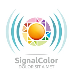 Rainbow signal colour circle symbol icon vector