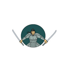 Samurai warrior wielding two swords oval drawing vector