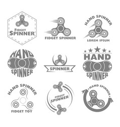 set logo hand spinner toys vector image vector image