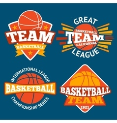 Set of basketball labels with balls and ribbons vector image vector image
