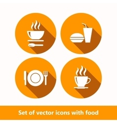Set of icons with food vector image