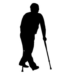 silhouette of disabled people on a white vector image vector image