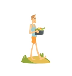 Skinny farmer carrying the vegetables vector