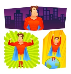 Superhero posters banners set vector