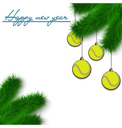 Tennis balls on christmas tree branch vector