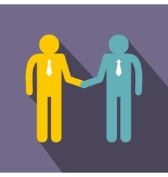 Two men shaking hands icon flat style vector