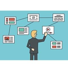 Using website flowchart sitemap connecting working vector