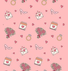 wedding objects seamless pattern vector image vector image