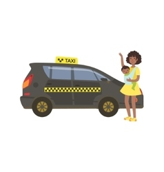 Woman with baby calling black taxi car vector