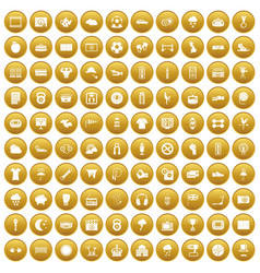 100 soccer icons set gold vector