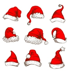 Christmas red hat or cap of santa and elf icon set vector