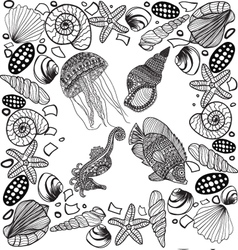 Composition of tropical fish seahorse jellyfish vector
