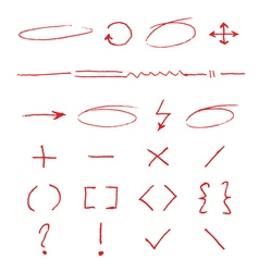 Marker emphasis handwritten circles arrows and vector image