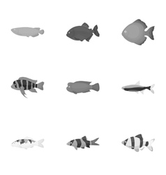 Aquarium fish set icons in monochrome style Big vector image