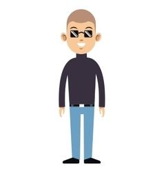 Cartoon man sunglasses neck turtle sweater vector
