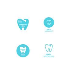 Set of dental clinic logo tooth icon vector