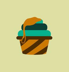 Caramel cupcake vector