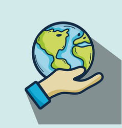 nice earth planet in the hand vector image