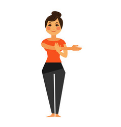 Woman in t-short and leggings does flexibility vector