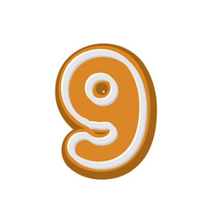 Number 9 gingerbread font peppermint honey cake vector