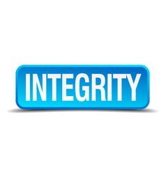Integrity blue 3d realistic square isolated button vector