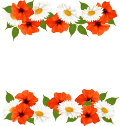 Summer background with colorful beautiful flowers vector