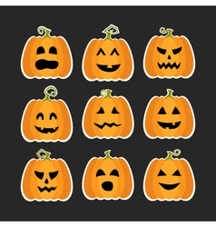 Halloween pumpkins flat stikers set vector