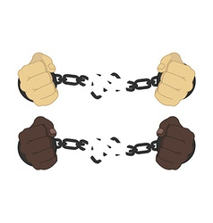 Male hands breaking steel handcuffs vector