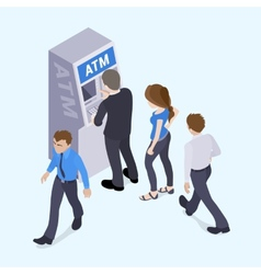 People in line in front of the atm vector