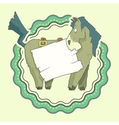 Hand drawn label of character horse with wooden vector