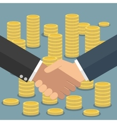 Handshake in flat style coins stacks vector