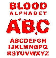 blood alphabet letters set vector image