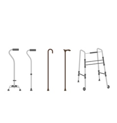 Set of senior walking sticks vector