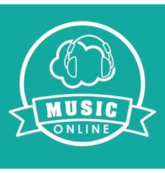 Graphic design of music online vector