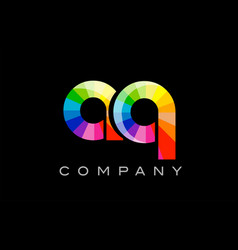 Aq a q alphabet letter mosaic design vector