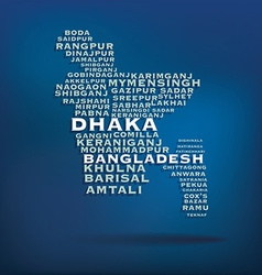 Bangladesh map made with name of cities vector image vector image