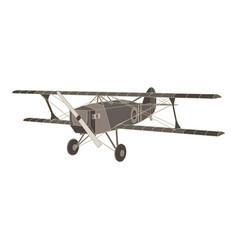 black flat icon of vintage biplane airplane vector image