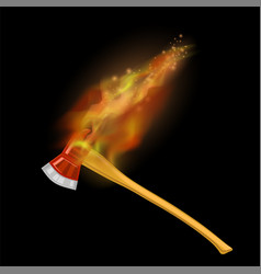 burning firefighter axe icon with fire vector image vector image